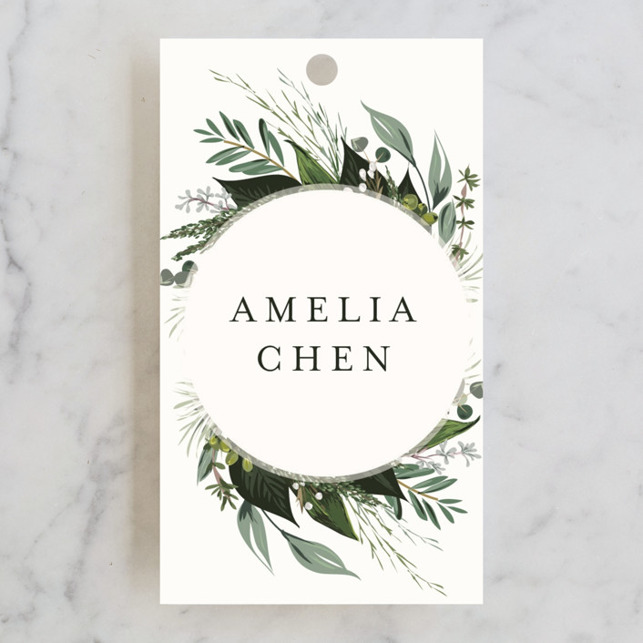 """""""Natures Greens"""" - Bridal Shower Favor Tags in Ivory by Susan Moyal."""