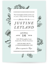 This is a blue baby shower invitation by Jennifer Wick called Vintage Caslon with standard printing on signature in standard.