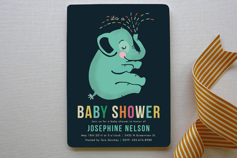 baby elephant baby shower invitations by pistols | minted, Baby shower invitations