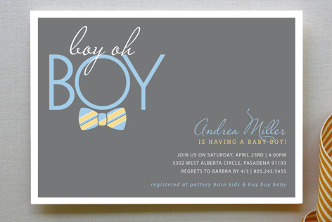 Bow Tie Boy Oh Baby Shower Invitations