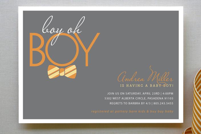"""Bow Tie Boy Oh Boy"" - Preppy Baby Shower Invitations in Ocean by Beth Schneider."