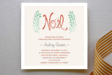 Antique Noel Baby Shower Invitations