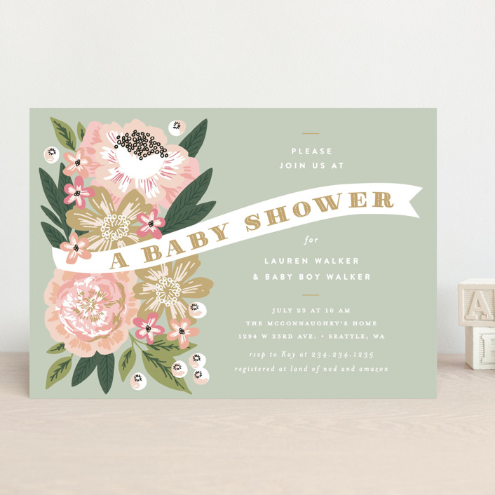 """""""Floral Banner"""" - Baby Shower Invitations in Petal by Alethea and Ruth."""