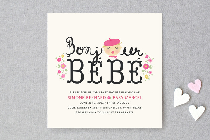 bonjour bebe baby shower invitations by pistols minted