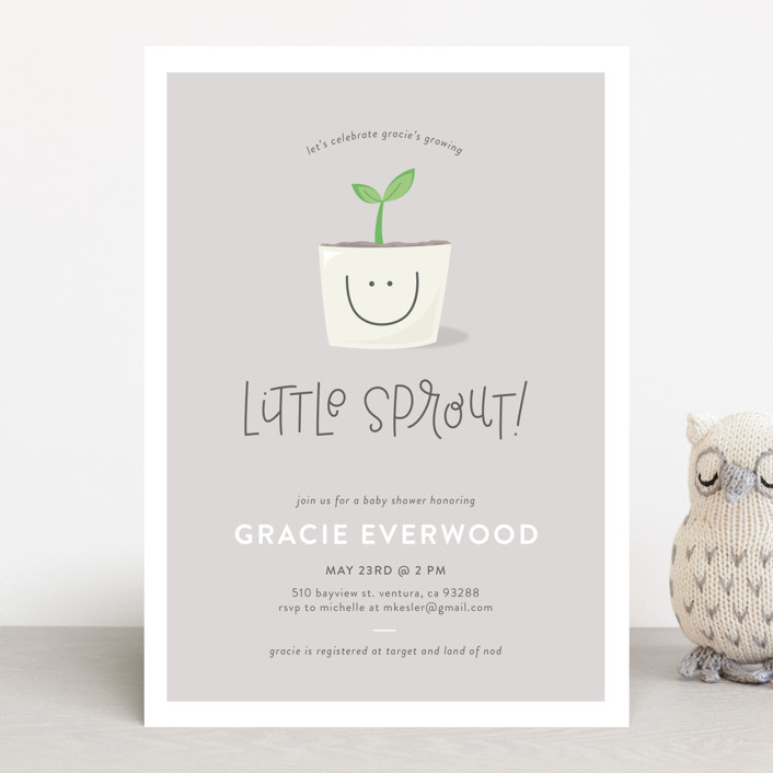"""Little Sprout"" - Baby Shower Invitations in Mint by Olivia Goree."