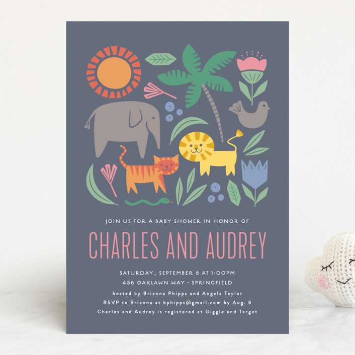 """Sweet Safari"" - Baby Shower Invitations in Hibiscus by Olivia Raufman."