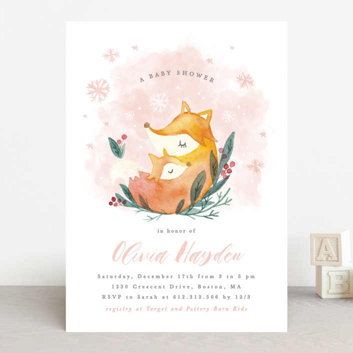 """""""Foxy love"""" - Baby Shower Invitations in Crystal by Creo Study."""