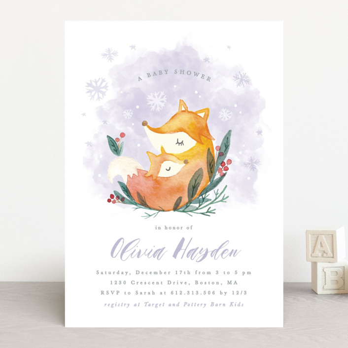 """Foxy love"" - Baby Shower Invitations in Crystal by Creo Study."