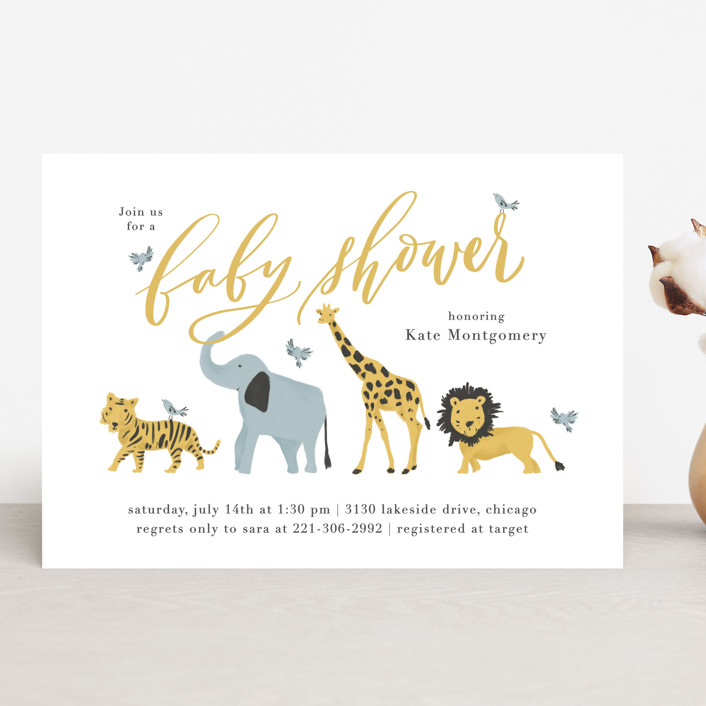 """""""Animal Parade"""" - Baby Shower Invitations in Bluebell by Julie Murray."""