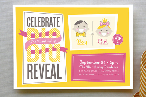 The Big Reveal Baby Shower Invitations