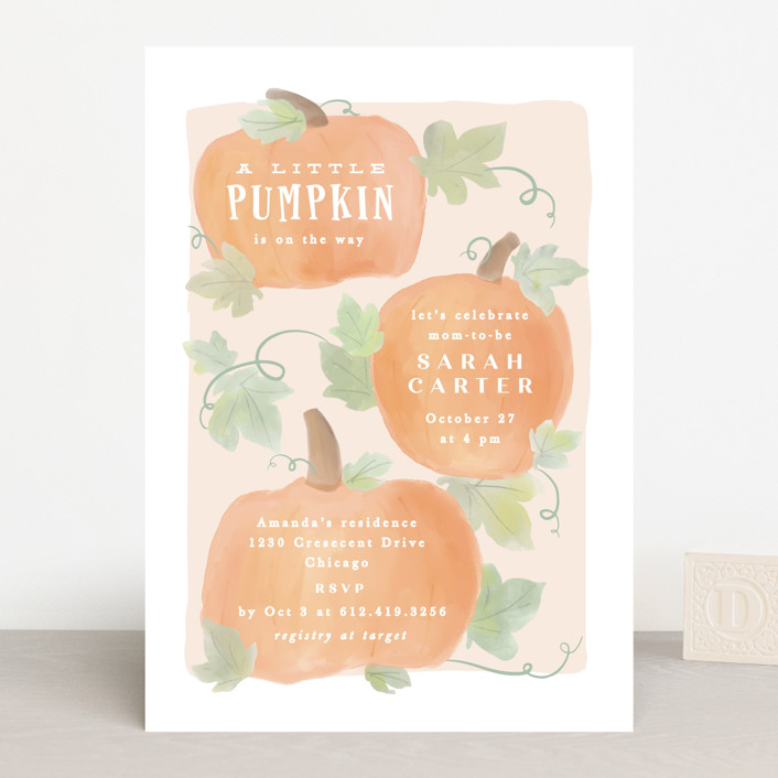 """""""Lil Pumpkin"""" - Whimsical & Funny Baby Shower Invitations in Blush by Creo Study."""