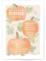 This is a beige baby shower invitation by Creo Study called Lil Pumpkin with standard printing on signature in standard.