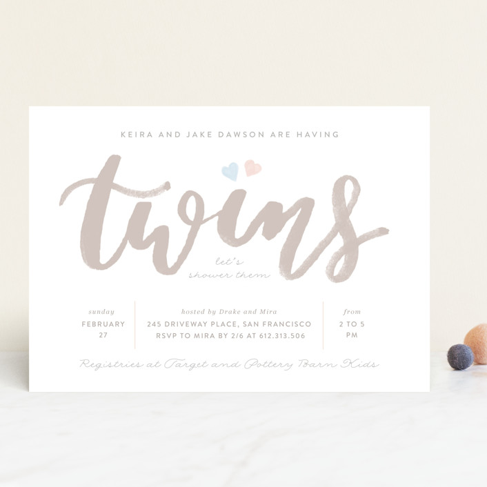 """""""twice the love"""" - Baby Shower Invitations in Pumpkin by Creo Study."""