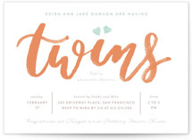 This is a orange baby shower invitation by Creo Study called twice the love with standard printing on signature in standard.