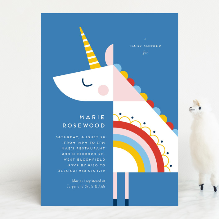 """rainbow unicorn"" - Whimsical & Funny Baby Shower Invitations in Cobalt by Genna Blackburn."