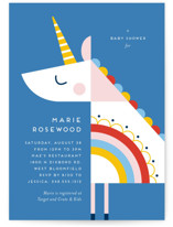 This is a blue baby shower invitation by Genna Blackburn called rainbow unicorn with standard printing on signature in standard.
