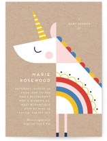 This is a brown baby shower invitation by Genna Cowsert called rainbow unicorn with standard printing on signature in standard.