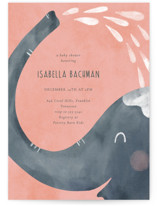 This is a pink baby shower invitation by Kann Orasie called Showering Elephant with standard printing on signature in standard.