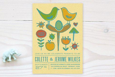 Nesting Birds Baby Shower Invitations