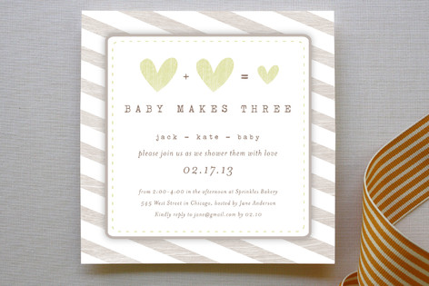 Baby Makes Three Baby Shower Invitations