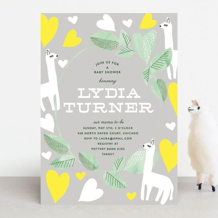 """Mama Llama"" - Baby Shower Invitations in Petal by Baumbirdy."