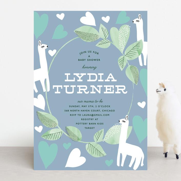 """Mama Llama"" - Baby Shower Invitations in Petal by Baumbirdy."