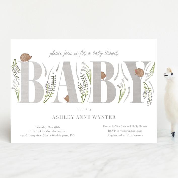 """Hedge Hog Heaven"" - Baby Shower Invitations in Robin's Egg by Hallie Fischer."