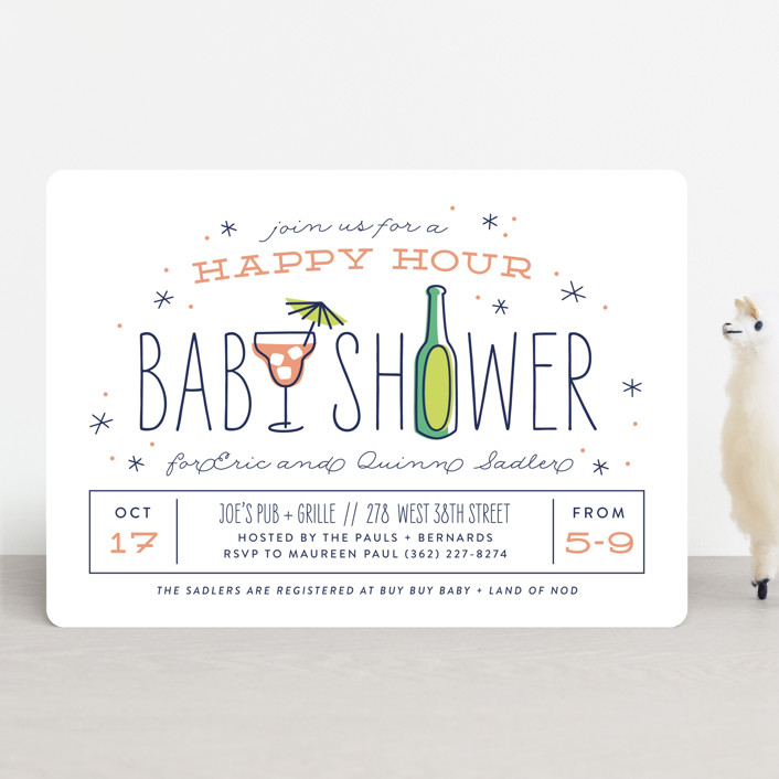 """""""happy hour"""" - Baby Shower Invitations in Peach by Laura Hankins."""
