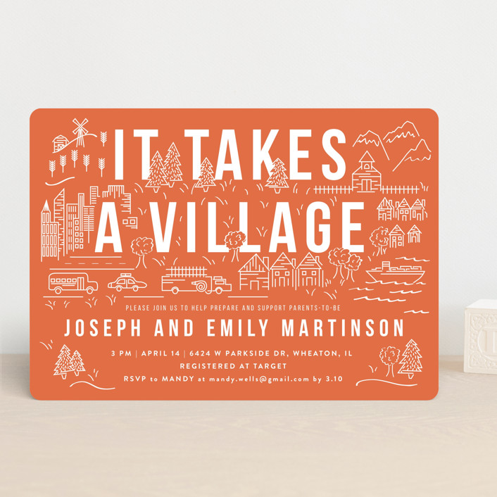 """""""It Takes A Village"""" - Baby Shower Invitations in Coral by Shiny Penny Studio."""