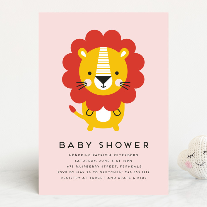 """Geometric Lion"" - Whimsical & Funny Baby Shower Invitations in Blush by Genna Blackburn."