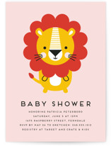 This is a pink baby shower invitation by Genna Blackburn called Geometric Lion with standard printing on signature in standard.