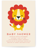 This is a beige baby shower invitation by Genna Cowsert called Geometric Lion with standard printing on signature in standard.