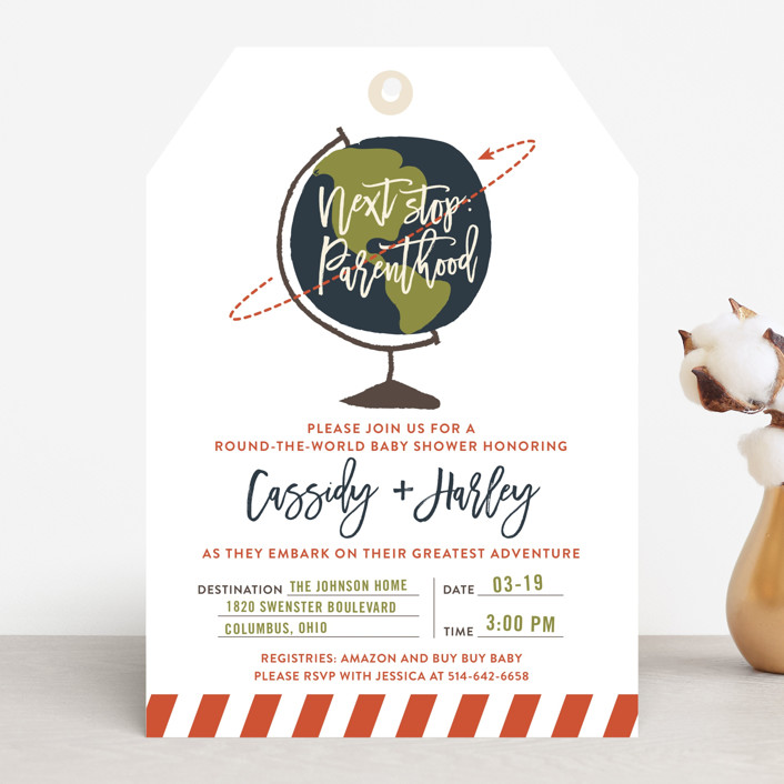 """""""Round The World"""" - Whimsical & Funny Baby Shower Invitations in Salmon by Shari Margolin."""