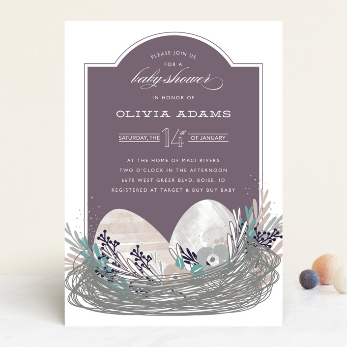 """""""Their Nest"""" - Floral & Botanical, Classical Baby Shower Invitations in Bluebird by Bethany Anderson."""