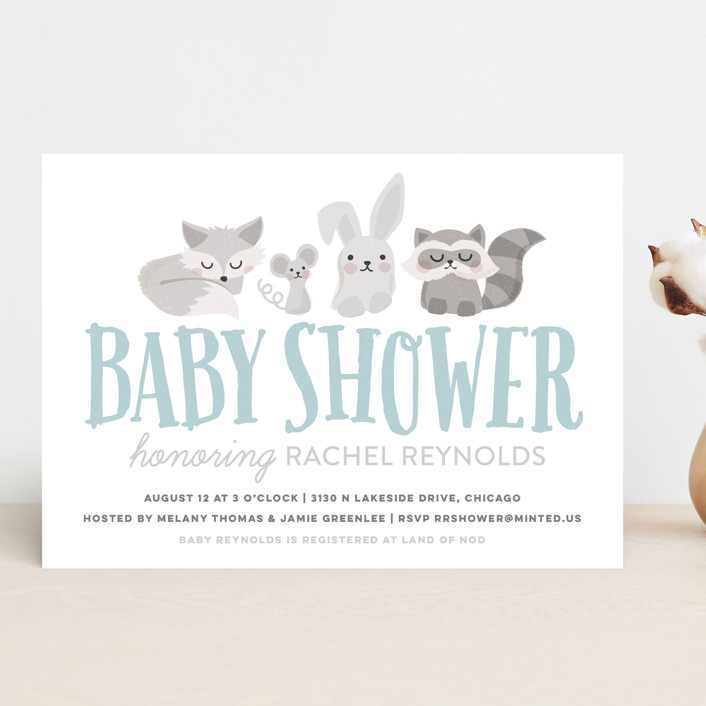 """""""Woodland Buddies"""" - Whimsical & Funny, Hand Drawn Baby Shower Invitations in Dusty Blue by Jessie Steury."""