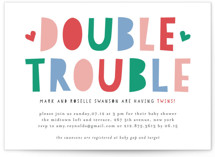 This is a colorful baby shower invitation by Mansi Verma called Double Trouble with standard printing on signature in standard.