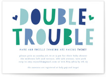 This is a blue baby shower invitation by Mansi Verma called Double Trouble with standard printing on signature in standard.