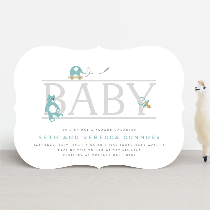 """baby serif"" - Baby Shower Invitations in Lagoon by Faith Dorn."