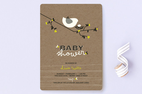 nesting bird baby shower invitations by fatfatin  minted, Baby shower invitations