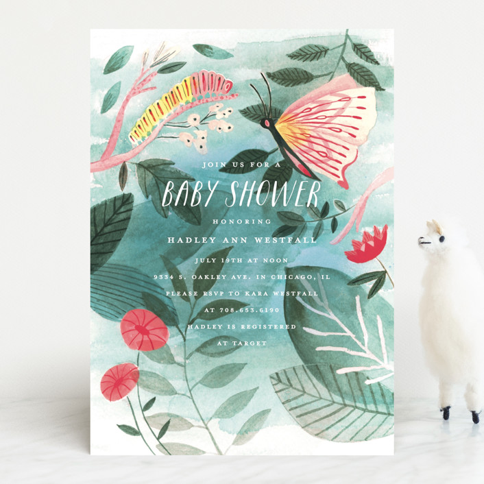 """""""Caterpillar and Butterfly"""" - Baby Shower Invitations in Pond by Morgan Ramberg."""