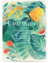 This is a green baby shower invitation by Morgan Ramberg called Caterpillar and Butterfly with standard printing on signature in standard.