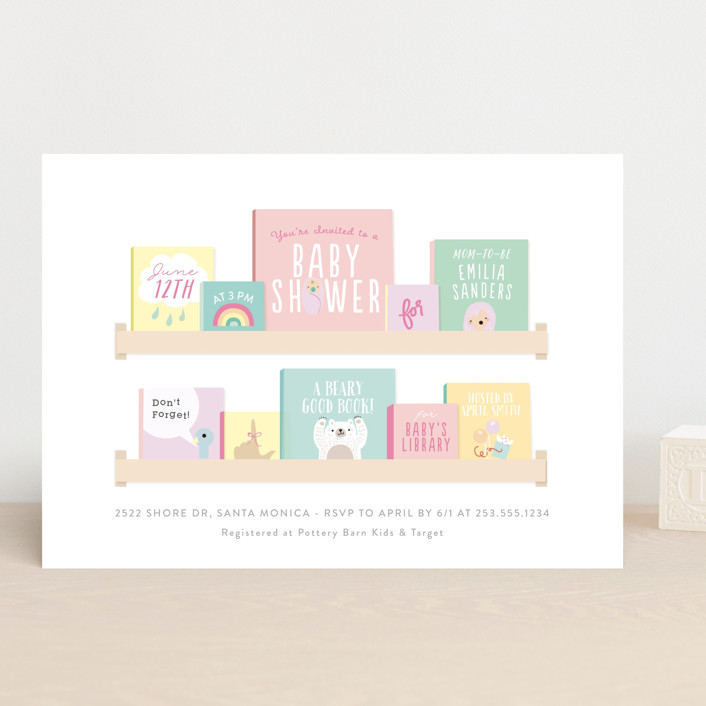"""Modern Book Shelf"" - Baby Shower Invitations in Brights by Itsy Belle Studio."