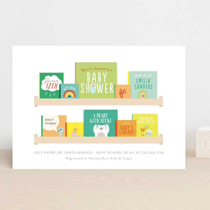 """""""Modern Book Shelf"""" - Baby Shower Invitations in Brights by Itsy Belle Studio."""