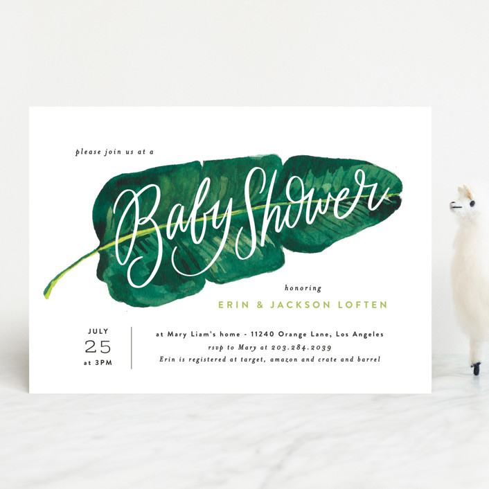 """""""Tropical Baby Shower Leaf"""" - Baby Shower Invitations in Forest by Alethea and Ruth."""