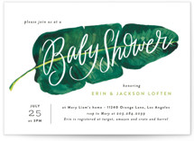 This is a green baby shower invitation by Alethea and Ruth called Tropical Baby Shower Leaf with standard printing on signature in standard.