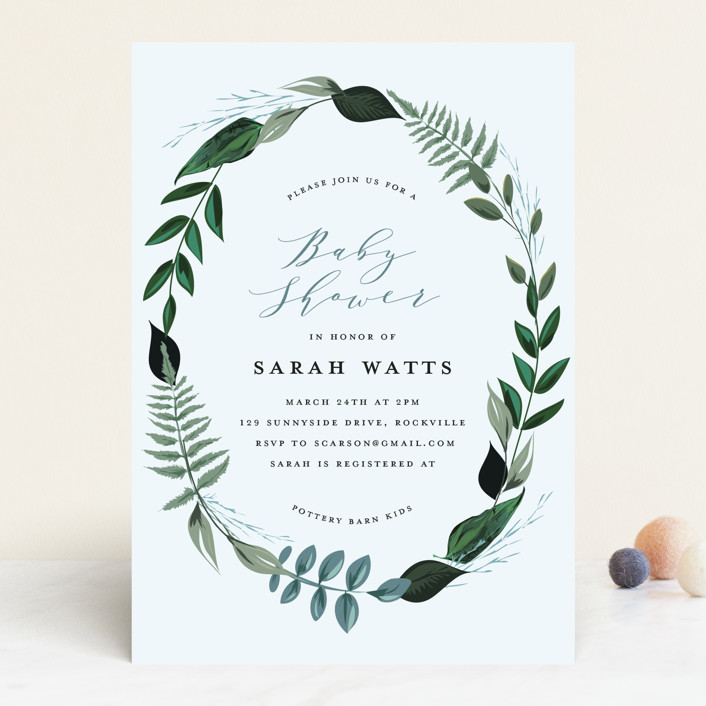 """Baby Crown"" - Baby Shower Invitations in Fern by Susan Moyal."