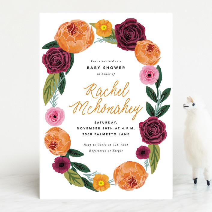 """boho flowers"" - Baby Shower Invitations in Tangerine by Cass Loh."