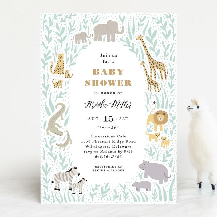 """Savannah animals"" - Baby Shower Invitations in Sage by Jennifer Wick."