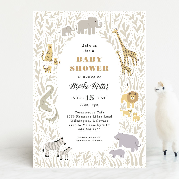 """Savannah animals"" - Baby Shower Invitations in Sage by Jennifer Wick."