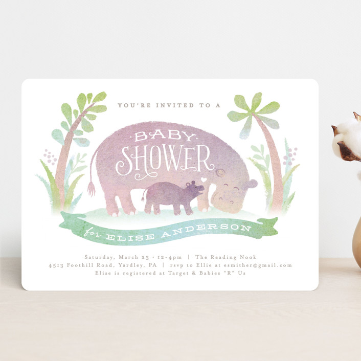 """""""Baby hippo"""" - Baby Shower Invitations in Wisteria by Jennifer Wick."""
